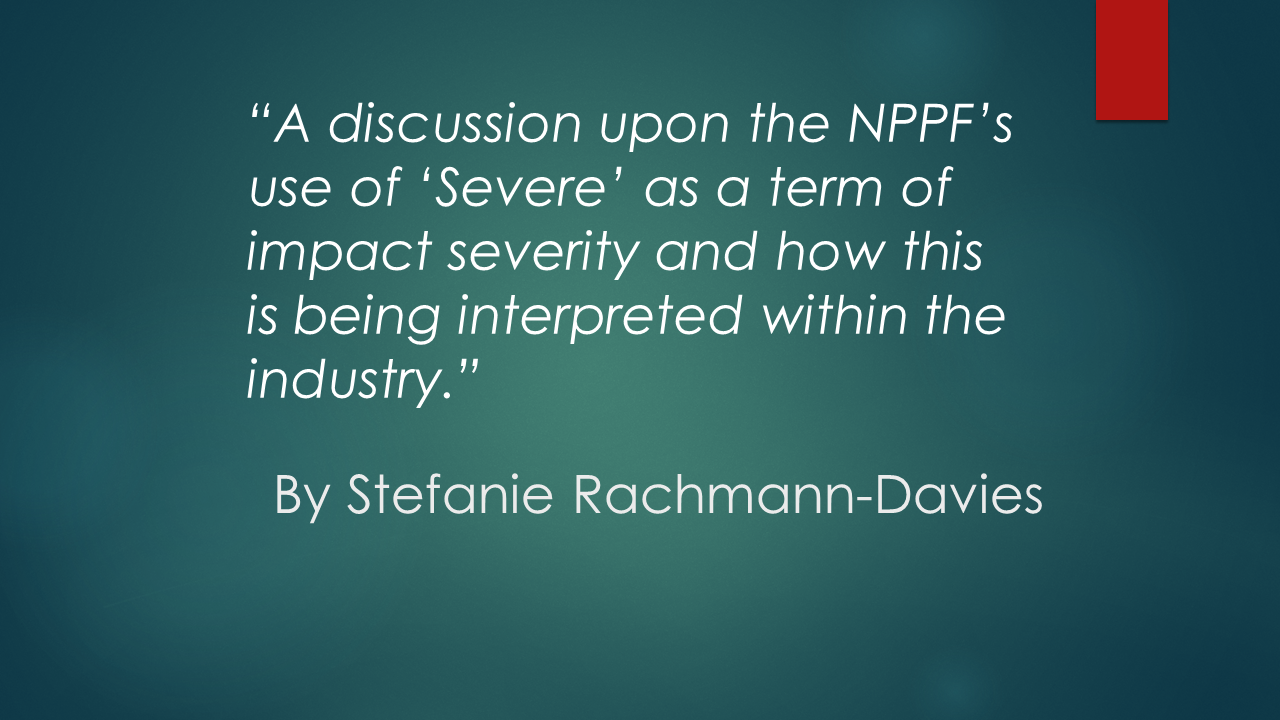 The NPPF and Severity of Impact